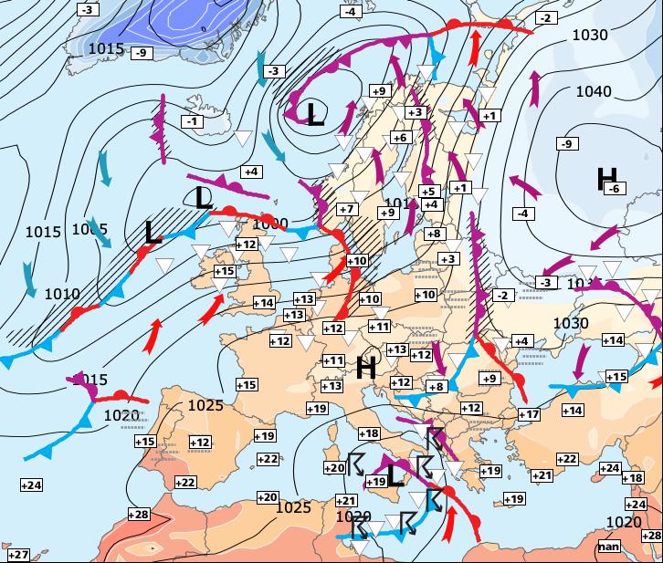 Situation générale en Europe avec fronts et masses d'air météopassion